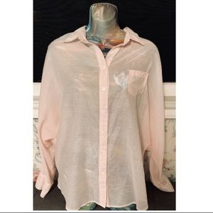 Costa Blanca Long Sleeve Button Down in Pale Pink